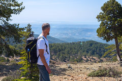 Bearded man, traveler walk along the mountain path. Admiring the beautiful views. Sunny day on Troodos, Cyprus. Back view royalty free stock photo
