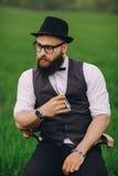 Bearded man vaping stock photos