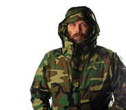 Bearded man wearing gortex jacket Royalty Free Stock Images