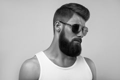 Bearded man wearing sunglasses. Black and white studio shot on white background Royalty Free Stock Images