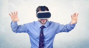 Bearded man wearing virtual reality goggles Stock Image