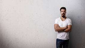 Bearded man wearing white blank t-shirt Royalty Free Stock Photo