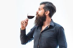 Bearded man with wine. Handsome bearded rich man with stylish hair mustache and long beard on serious face in blue fashion shirt holding glass and sniff smell of stock photography