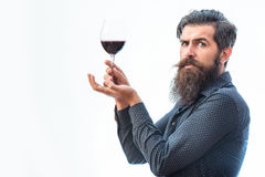 Bearded man with wine. Handsome bearded rich man with stylish hair mustache and long beard on serious face in blue fashion shirt holding glass of red wine stock photo