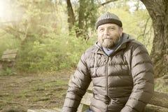Bearded man winter jacket Royalty Free Stock Photography