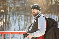 Bearded man in winter travels. Royalty Free Stock Images