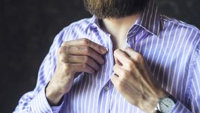 Bearded Man in Wristwatch Dressed in a Hurry stock photo