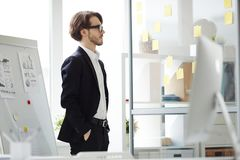 Bearded Manager Thinking over Project. Profile view of pensive young manager with hands in pockets standing at glass board with attached sticky notes and royalty free stock image