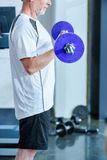 Bearded mature sportsman training with barbell in gym. Side view of bearded mature sportsman training with barbell in gym Stock Image