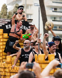 Bearded men at  gay pride parade in Sitges Stock Photos