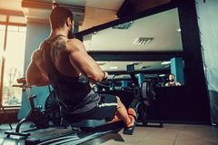 Muscular fit man using rowing machine at gym. Bearded Muscular Fit Man Ssing Rowing Machine at Functional Training Gym Stock Image