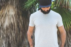 Bearded muscular hipster man model wearing gray blank t-shirt and a black baseball cap with space for your logo or. Design in casual urban style.Green palm and Stock Photo