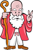 Bearded Old Man Staff Peace Sign Cartoon Stock Photo
