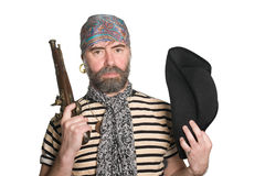 Bearded pirate. With tricorn hat and musket Stock Photography