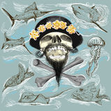 Bearded pirate skull and underwater life - hand drawn vector Stock Photos