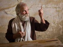 Bearded Prophet in biblical scene. Prophet in historical reenactment bible scene making a prophecy Stock Image