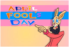 Bearded Rabbit Point Finger At Fool Day April Holiday Greeting Stock Image