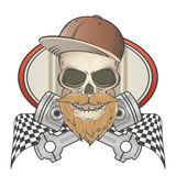 Bearded racing skull with crossed pistons