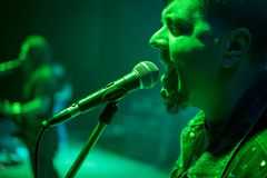 Singer at the concert. Bearded singer sings at a microphone on concert, with green light Stock Image