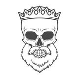 Bearded Skull with Crown design element. Dead King Stock Photos