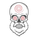 Bearded skull with hypnotic glasses. Crazy. Steampunk magician portrait. Dead victorian old man vintage logo vector illustration