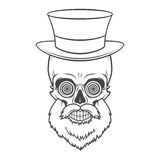 Bearded skull with hypnotic grasses and top hat Royalty Free Stock Images