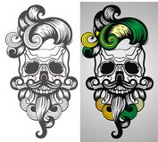 Bearded skull illustration. For invitation, congratulation and greeting card Stock Images