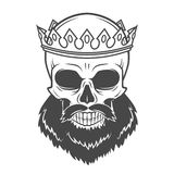 Bearded Skull King with Crown. Vintage Cruel. Tyrant portrait design. Royal t-shirt illustration. Old prince logo template royalty free stock photography