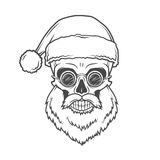 Bearded Skull Santa Claus with glasses poster. Vintage Christmas old man portrait. X-mas t-shirt illustration Stock Images