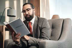 Bearded smart advocate wearing red tie reading administrative law. Smart advocate. Bearded smart advocate wearing red tie and grey cose reading administrative stock photos