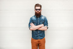 Bearded and stylish. Royalty Free Stock Photography