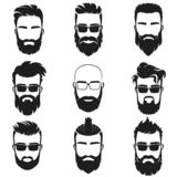 Bearded stylish hipster men faces with different haircuts style, mustaches, beards, black sunglasses avatar, emblem royalty free illustration