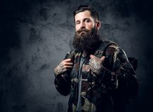 Bearded tattooed male in camouflage jacket. Bearded tattooed male in camouflage jacket over grey background Royalty Free Stock Images