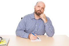Bearded thinking man Stock Photo