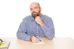 Bearded thinking man Stock Images