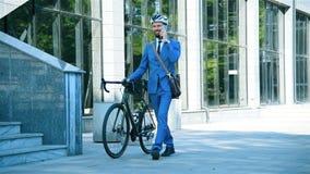 Bearded Trader Man With Bike Walking On Job