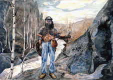Bearded warrior posing among rocks. Рand drawn watercolor illustration Stock Photos