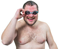 Bearded wet man in goggles Stock Images