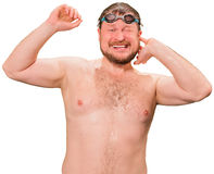Bearded wet man in goggles Stock Photo