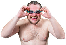 Bearded wet man in goggles Royalty Free Stock Photography