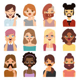 Bearded woman and mustache girl vector stock illustration
