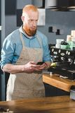 Bearded young barista in apron using smartphone and looking away. In coffee shop stock image