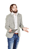 Bearded young business man using digital tablet. portrait isolat Royalty Free Stock Photos