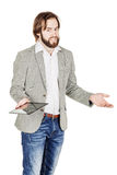 Bearded young business man using digital tablet. portrait isolat Stock Images