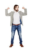 Bearded young business man using digital tablet. portrait isolat Royalty Free Stock Photo