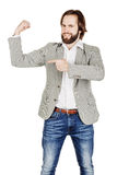 Bearded young business man using digital tablet. portrait isolat Stock Photography