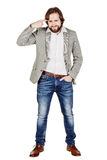 Bearded young business man using digital tablet. portrait isolat Royalty Free Stock Photography