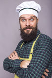 Bearded young chef with surprised expression Stock Photos