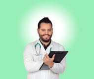 Bearded young doctor in the hospital Royalty Free Stock Photos