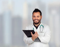 Bearded young doctor in the hospital Stock Photography